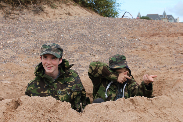 students on exmouth beach trip
