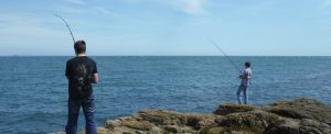 students sea fishing