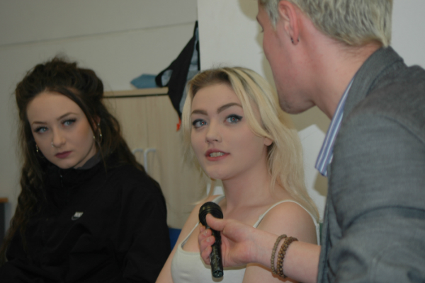 theatre students interviewing